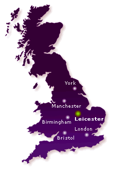 Map of the UK showing Leicester